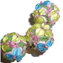 Lampwork Glass Flower Beads Raised Petals Blue & Yellow 15 mm 4 Beads (#a33y)