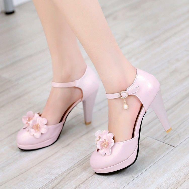 63c1a1bb5f41 Details about Sweet Lolita Women s Block High Heel Shoes Ankle Strap Flower  Party Pumps Floral