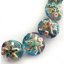 Handmade Lampwork Glass Lentil Bead Starfish Blue Sea Shell 15mm 4 beads (#a43s)