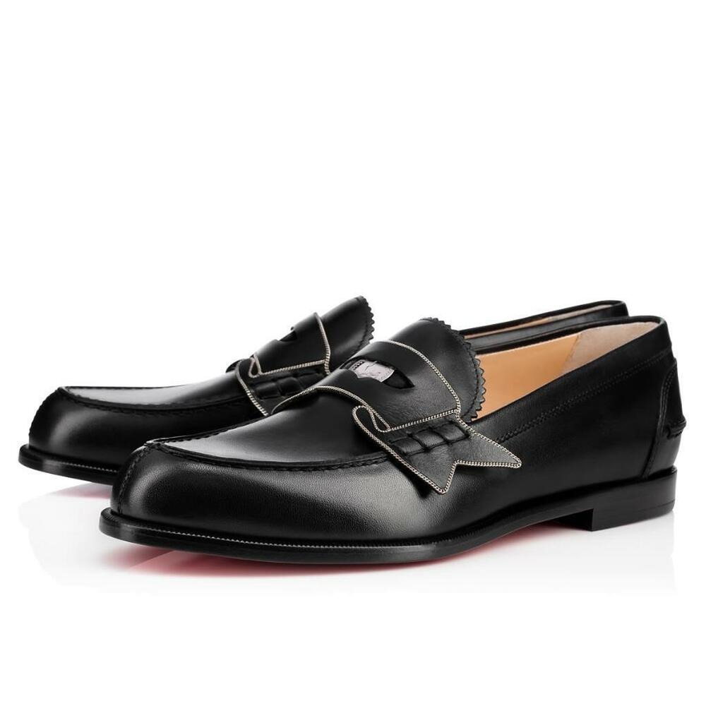 b251e87bada Details about Christian Louboutin Women MONANA Leather Penny Loafer Flat  Shoes Black  995