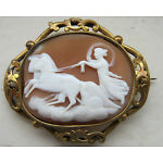 Antique Victorian Carved Shell Cameo Scene Of Chariot & Horses Eos? Brooch A/F