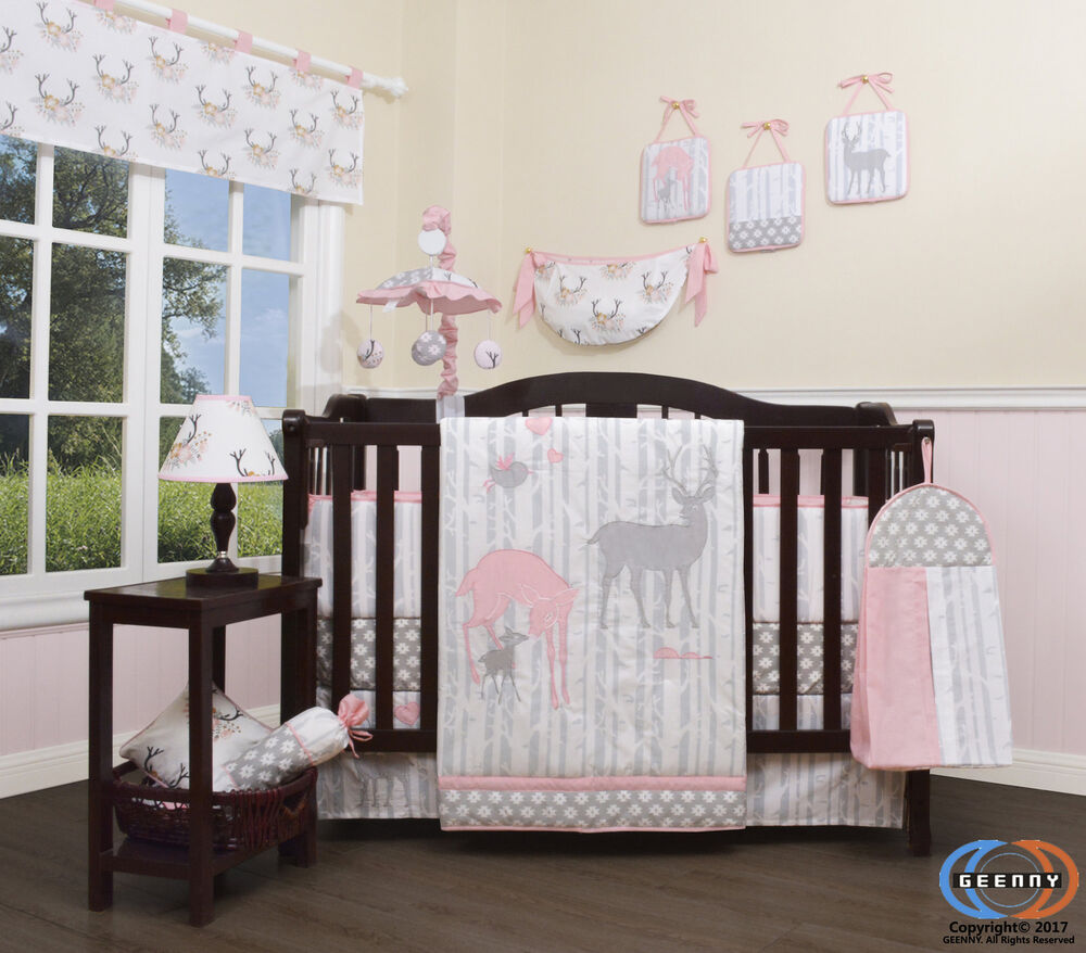 Harriet Bee Rollins 3 Piece Crib Bedding Set: Harriet Bee Three Lakes Baby Girl Deer Family Nursery 13