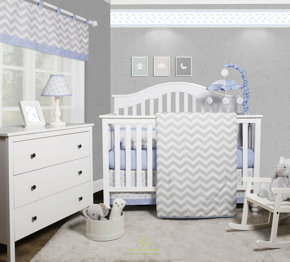 Harriet Bee Rollins 3 Piece Crib Bedding Set: Harriet Bee Beavers Chevron Nursery 6 Piece Crib Bedding