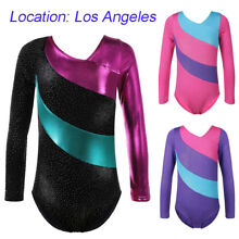 US Warehouse Girls Gymnastics Leotard Sparkle Stripes Athletic Dance Costume
