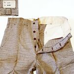 Button Fly Houndstooth Cinch Side Gusset Pants Vintage Vtg 20s 30s 40s DeadStock
