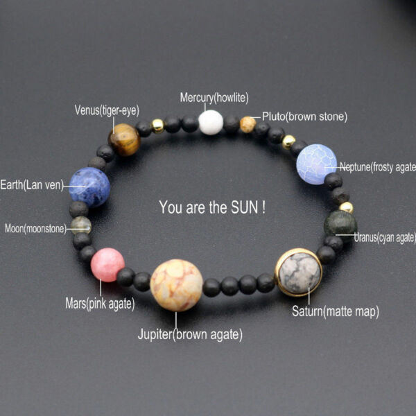 New Weave Bracelet Galaxy Solar System Eight Planets Theme Natural Stone Beads