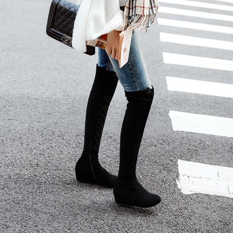 5936b9b29218e Details about Womens Suede Hidden Wedge Heel Over the Knee Boots Round Toe  Winter Thigh Boots
