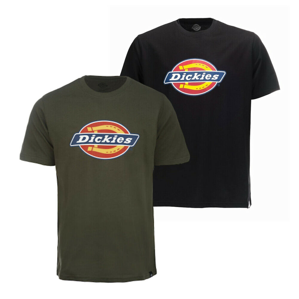 555c439419d Details about Mens Dickies Olive or Navy Vintage Horseshoe T-Shirt