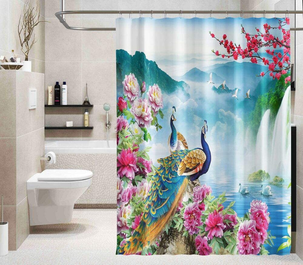 Shower Curtains Curtains, Drapes & Valances 3d Peacock Feather 8 Shower Curtain Waterproof Fiber Bathroom Windows Toilet