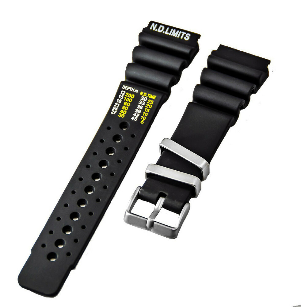 3b396ffc38a Details about 24mm Black PU-Rubber Style Watch Band (N.D. LIMITS) CITIZEN  AQUALAND PROMASTER