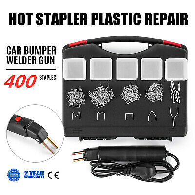 Hot Stapler Car Bumper Fender Fairing Welder Gun Plastic Repair Kit +400 Staples