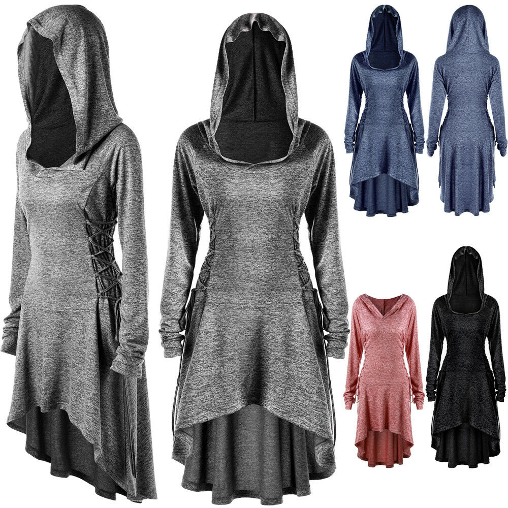 56d57b232be7 Details about Plus Size Goth Women Cosplay Hoodie Tops Steampunk High Low  Hooded Lace Up Dress