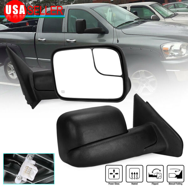 for 02-08 RAM 1500 03-09 2500 3500 Passenger Right Side Tow Mirror Power Heated