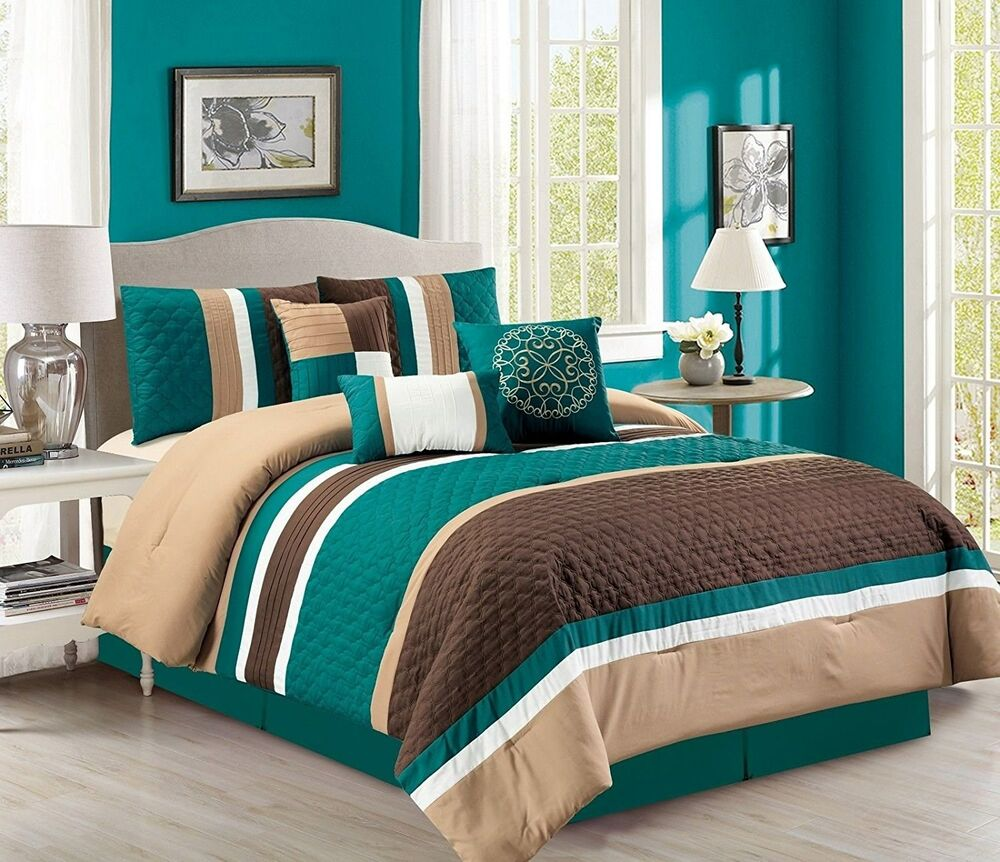7-Pc Boston Quilted Stripes Pleated Bed-In-A-Bag Comforter ...