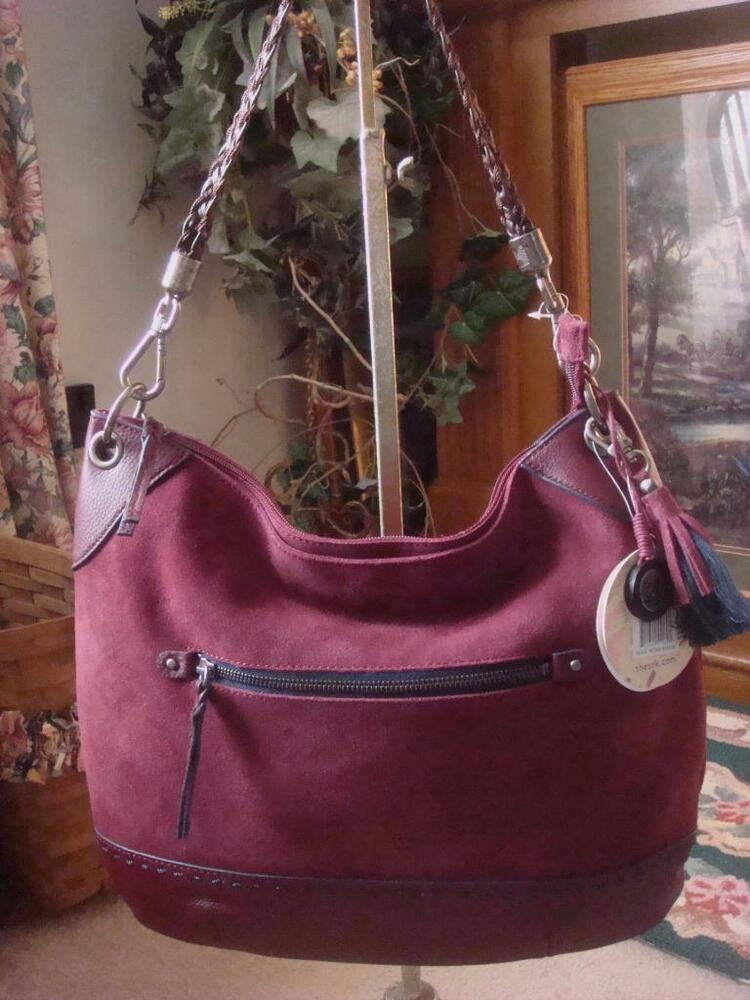 76d87c351b Details about NWT~THE SAK BURGANDY INDIO SUEDE   LEATHER HOBO SHOULDER  ~BROWN BRAIDED HANDLE