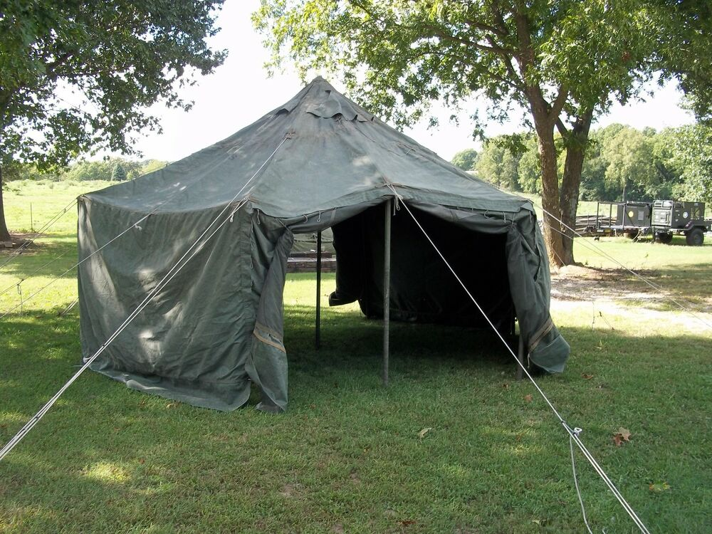 military surplus canvas gp small tent 17x17 ft camping hunting army no poles ebay On small canvas tents