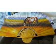 Large Hand Painted Bamboo Asian Wall Fan Featuring Horse & Mare Great Condition