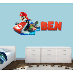 Personalised Super Mario Any Name Wall Decal 3D Art Stickers Vinyl Room Bedroom