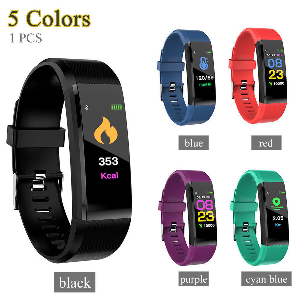 fitness smart watch activity tracker womenmen kids fitbit android ios heart rate ebay. Black Bedroom Furniture Sets. Home Design Ideas