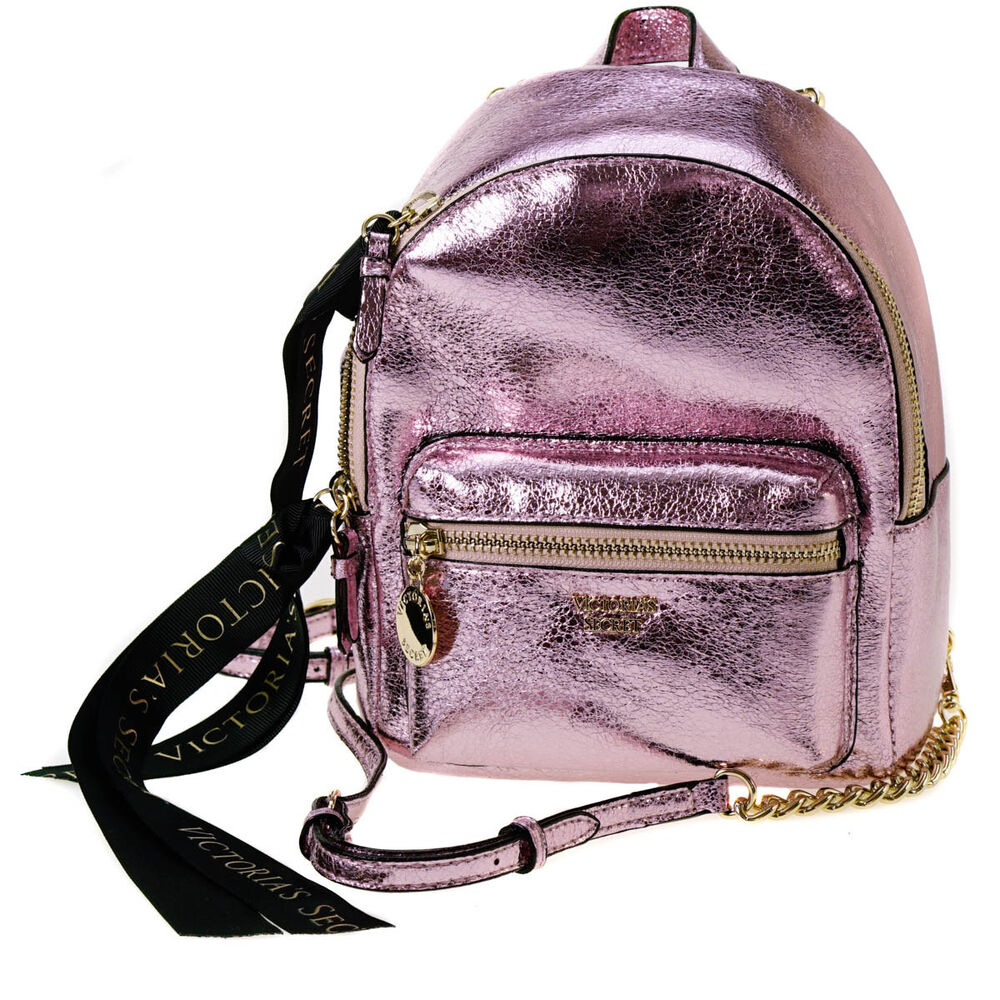 74334a90e6d Details about Victoria s Secret Pink Metallic Crackle Mini City Backpack
