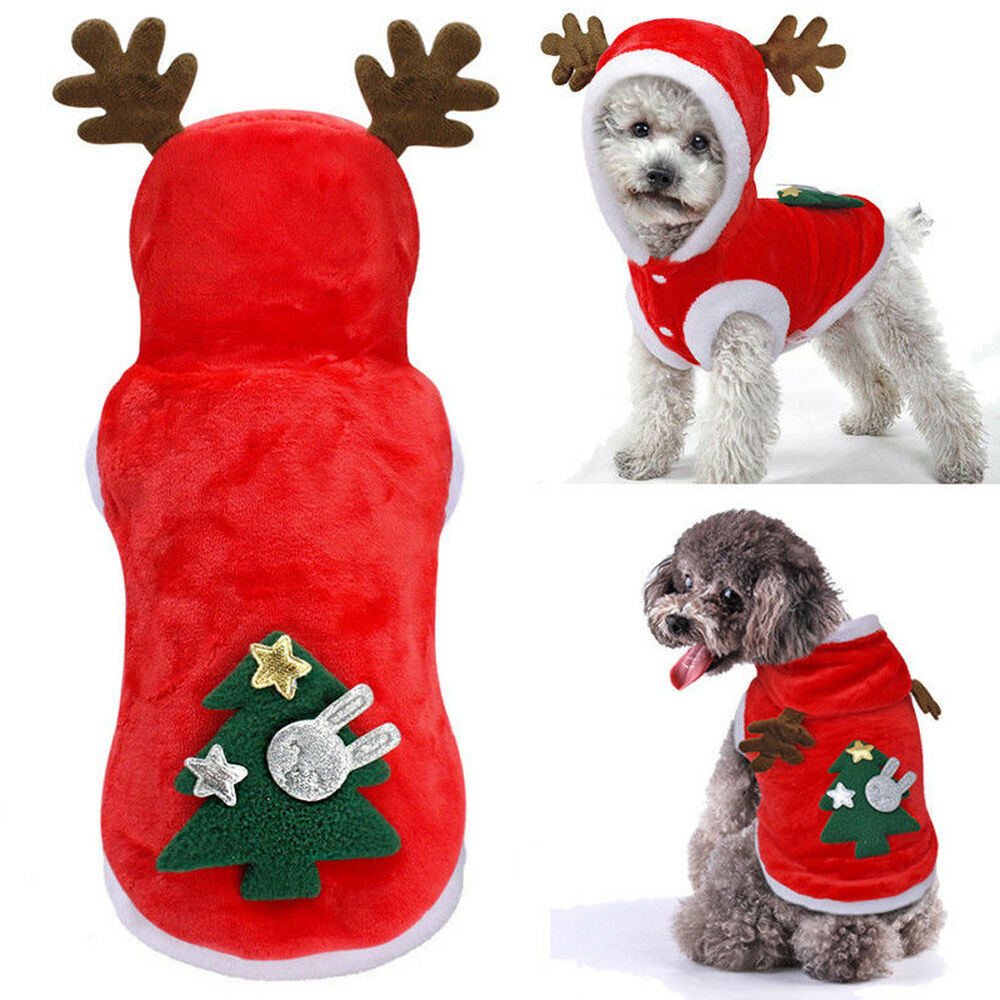 ff0e6758e031 Details about Christmas Small Pet Dog Hoodies Elf Cosplay Soft Warm Costume  Xmas Party Outfit
