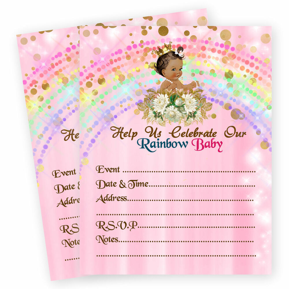 Rainbow Girl Baby Shower Invitations Miracle 1st First Birthday