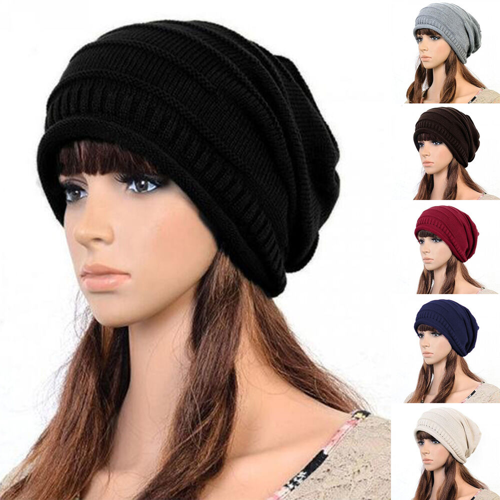 dae6e99f1c9 Details about Unisex Women Men Knitted Winter Casual Ski Slouch Oversized  Beanie Cap Hat Baggy