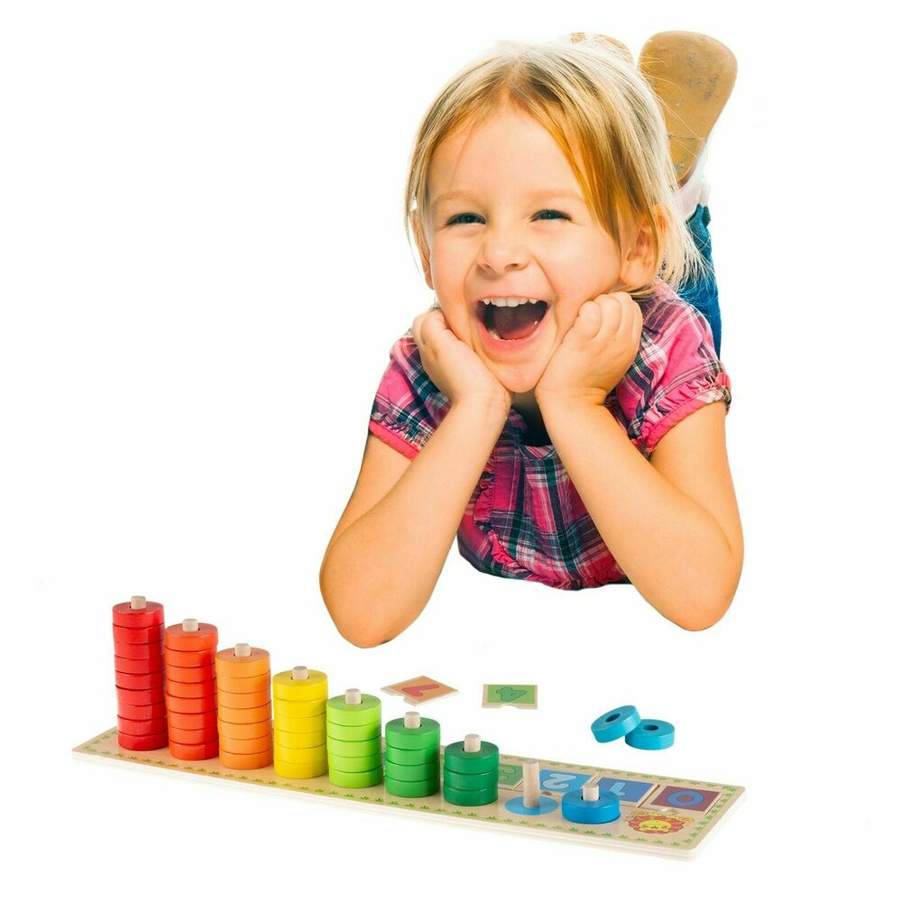 Wooden Counting Toy Stacking Ring Colorful Learning Toy ...