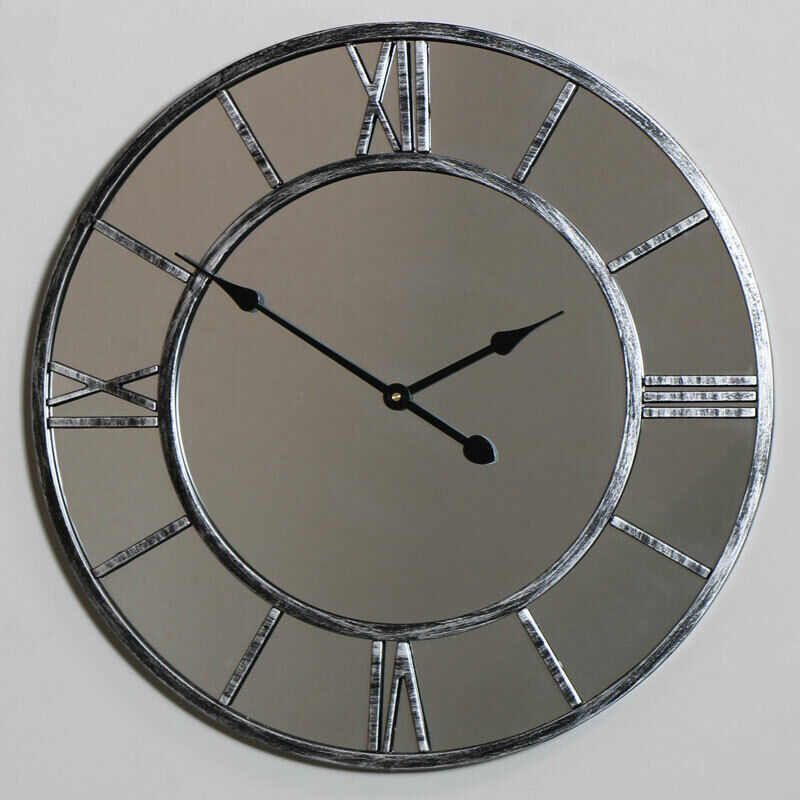 Large Skeleton Clock Style Mirrored Wall Clock Shabby