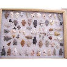 13X17 FRAME OF 66 MIDWEST PROJECTILE POINTS COLLECTED IN CHICAGO PRIOR TO 1960