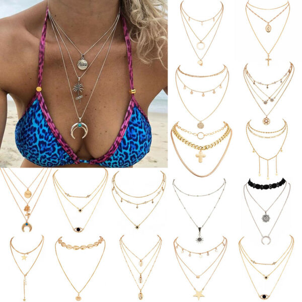 Multilayer Fashion Women Boho Alloy Clavicle Choker Necklace Charm Chain Jewelry