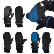 Black Water Resistant Boys Mittens Warm Winter Gloves For Kids Fleece Insulated