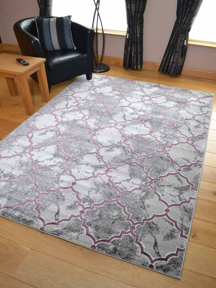 Modern Marble Effect Silver Grey Purple Large Small Floor