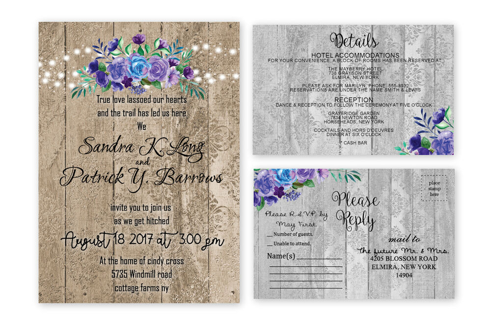 Rustic Wedding Invitations Purple Personalized Boho Country Floral