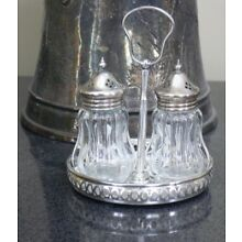VINTAGE CRYSTAL GLASS & SILVERPLATE ENGLAND SALT AND PEPPER W/TRAY SET