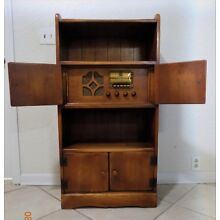 Vintage Cushman Colonial Furniture Maple Bookcase with Radio