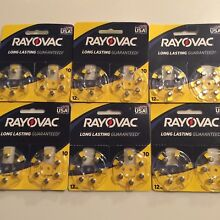 Rayovac Size 10 Hearing Aid Batteries 6 - 12 packs, 72 Batteries Exp 2021 NEW