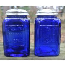Cobalt Blue Glass Salt and Pepper Shakers with Metal Lids