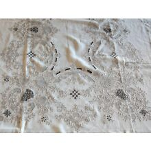 Fabulous Antique Madeira Tablecloth with Cutwork and Reticella 116.75