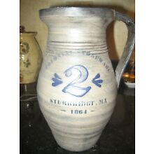 Redware Stoneware-Look  Pottery--Blue/Grey---Large jug