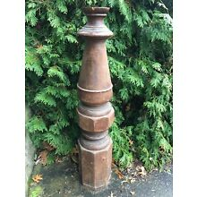 Large Antique Victorian Walnut Wood Newel Post Heavy Ornate Architecture Salvage