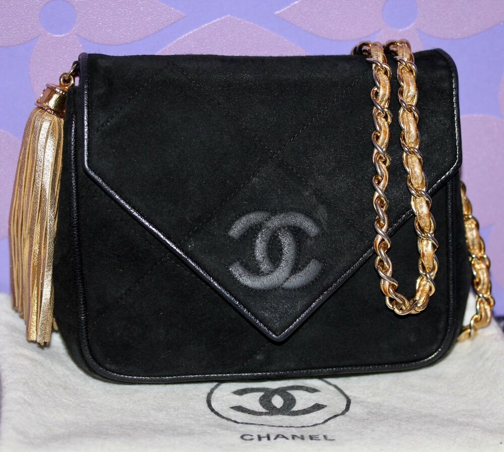 07e6b1789b1c7e Details about Chanel VINTAGE Quilted Suede MINI V Flap Bag CC LOGO Metallic  Gold Chain+Tassel!