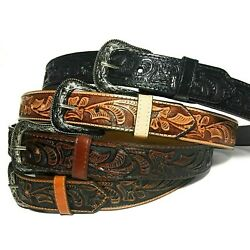 Kyпить  WESTERN LEATHER BELT. COWBOY RODEO CASUAL LEATHER BELT FLORAL EMBOSSED на еВаy.соm