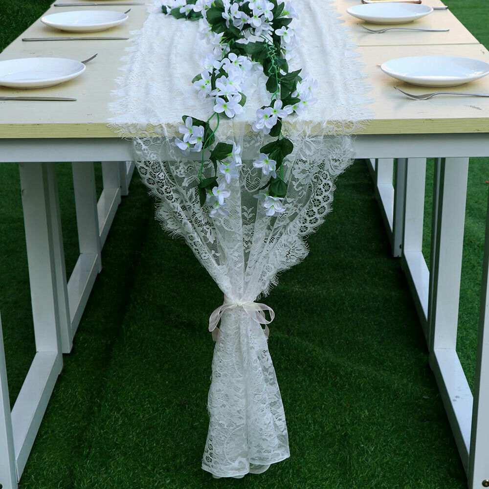 White Lace Table Runner Chair Sash Boho Wedding Party