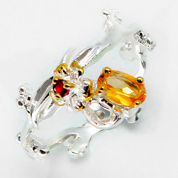 Free Shipping Promotion Natural Citrine 925 Sterling Fine Silver Ring / RVS94