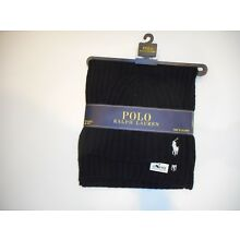 Polo RALPH LAUREN Mens Large Pony 2 PC Wool Black Knit SCARF & Beanie HAT Set