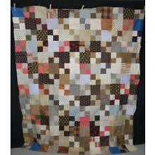 quilt patchwork top cotton early brown blue machine stitched antique 1850