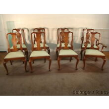 51577:Henkel Harris #110 Solid Cherry Set of 8 Queen Anne Dining Chairs