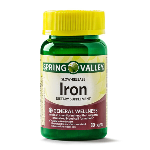 Expiration 6/19 Spring Valley Slow-Release Iron Dietary Supplement - 30 Tablets