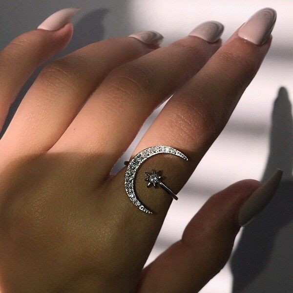 Dainty Adjustable Crescent Moon & Star Ring Silver White Sapphire Jewelry Gifts